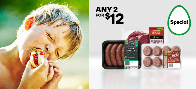 Woolworths Lamb Sausages 500g, Woolworths Scotch Fillet Steak 170g or Woolworths Homestyle Beef Rissoles 8pk 600g. Shop now.